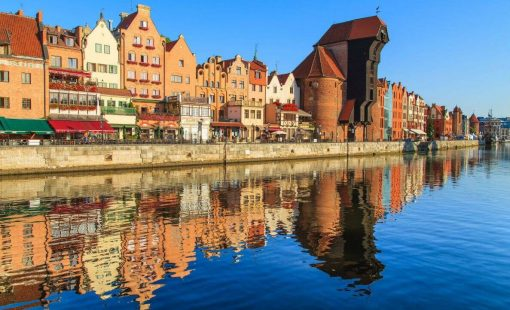 Panorama view for Gdansk, City in Poland , symbiosis challenges of turning waste into profit